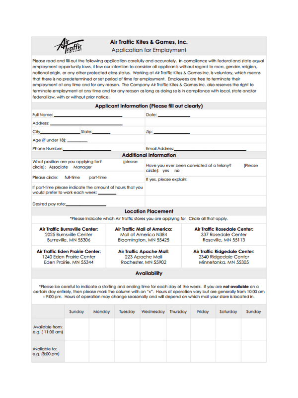 Air Traffic Kites and Games Job Application Form