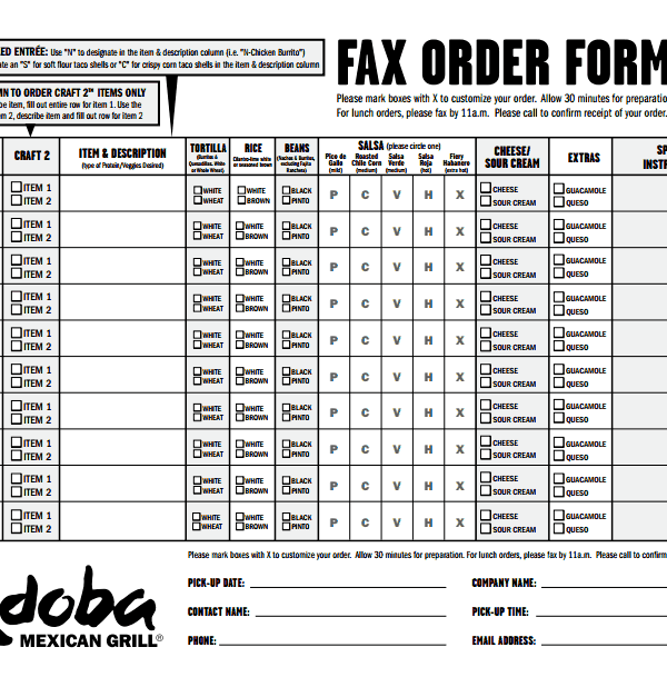 picture regarding Chipotle Order Form Printable identify Qdoba Fax Obtain Sort Completion within Buying the Tremendous