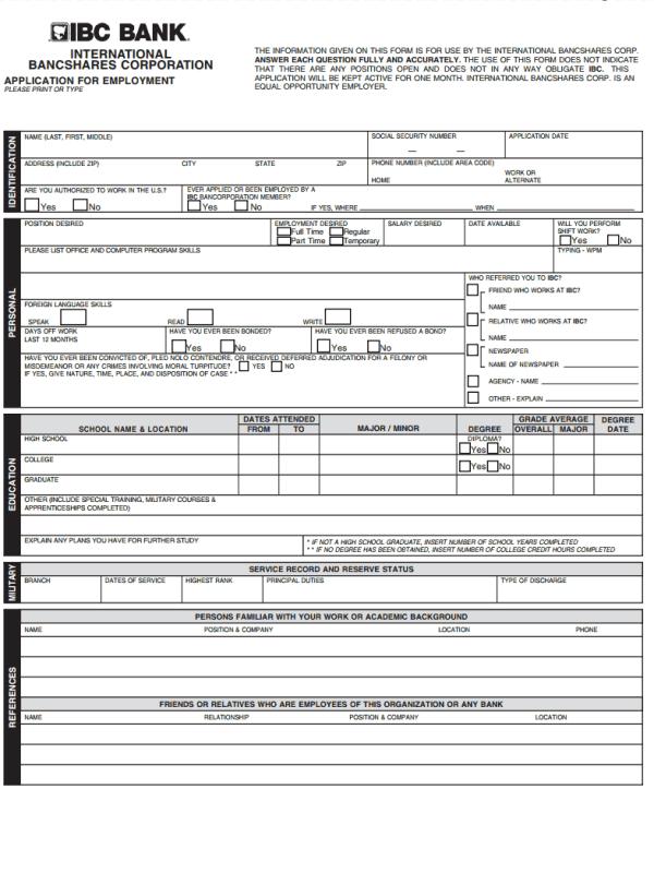 IBC Bank Job Application Form