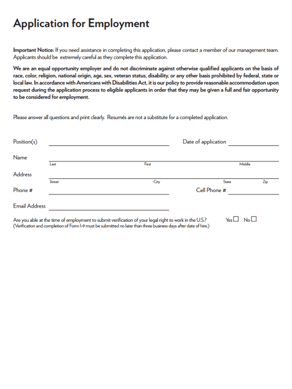 Melting Pot Job Application Form