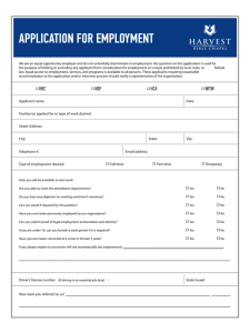 Harvest Bible Chapel Job Application Form
