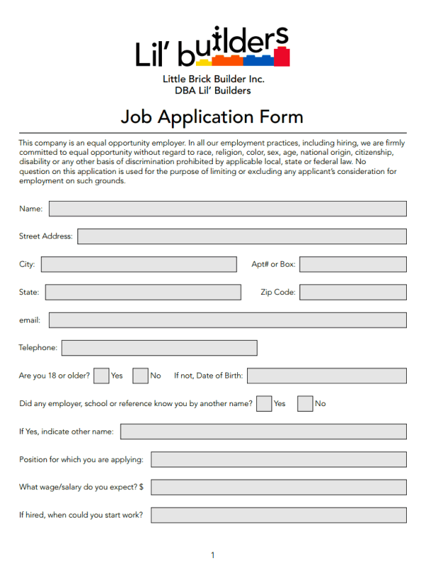 Lil Builders Job Application Form