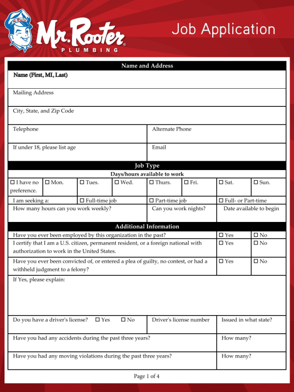 Mr Rooter Job Application Form