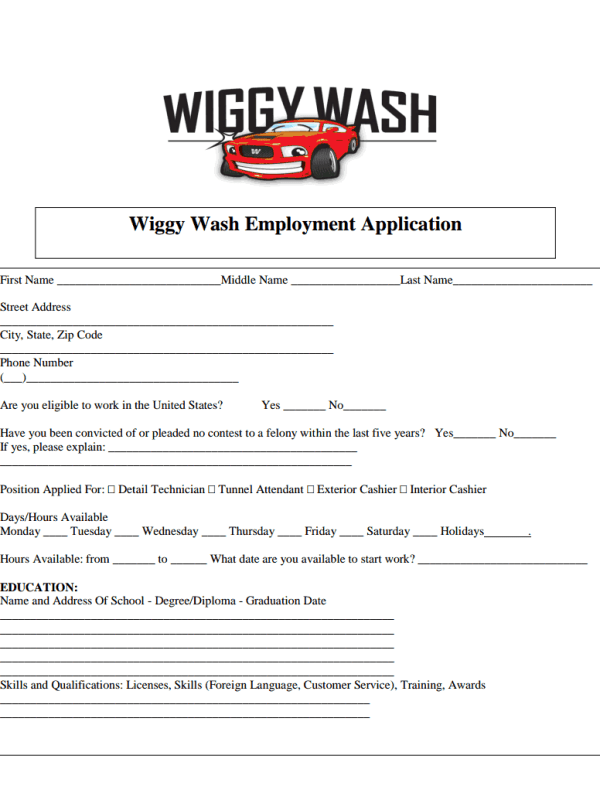 Wiggy Wash Job Application Form