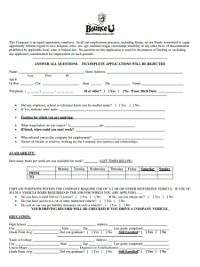 Bounceu Job Application form