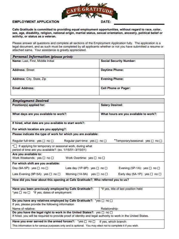 Café Gratitude Application Form