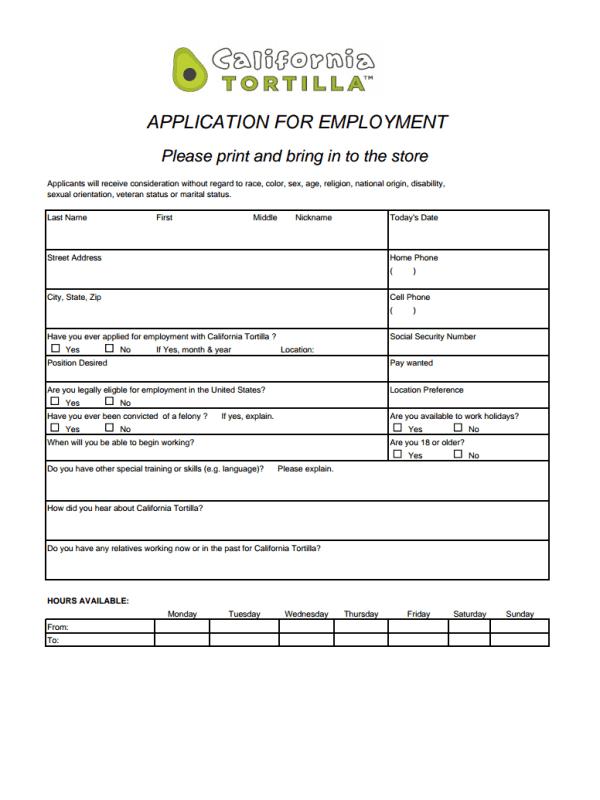 California Tortilla Job Application Form