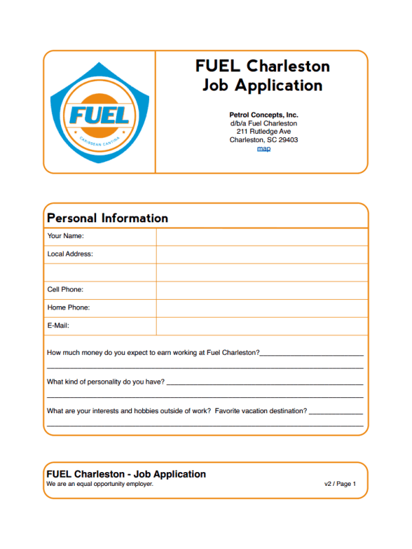 Fuel Charleston Job Application Form