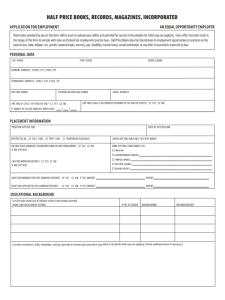 Half Price Books Job Application Form