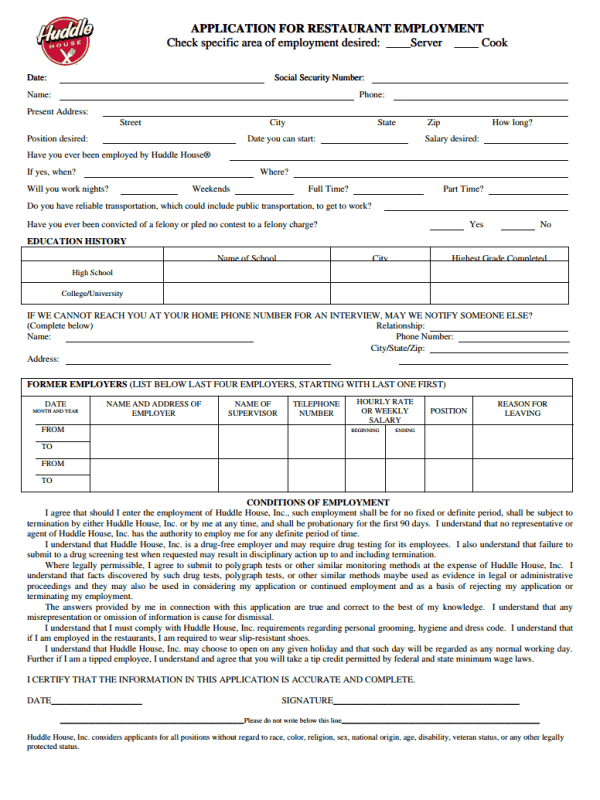 Huddle House Job Application Form