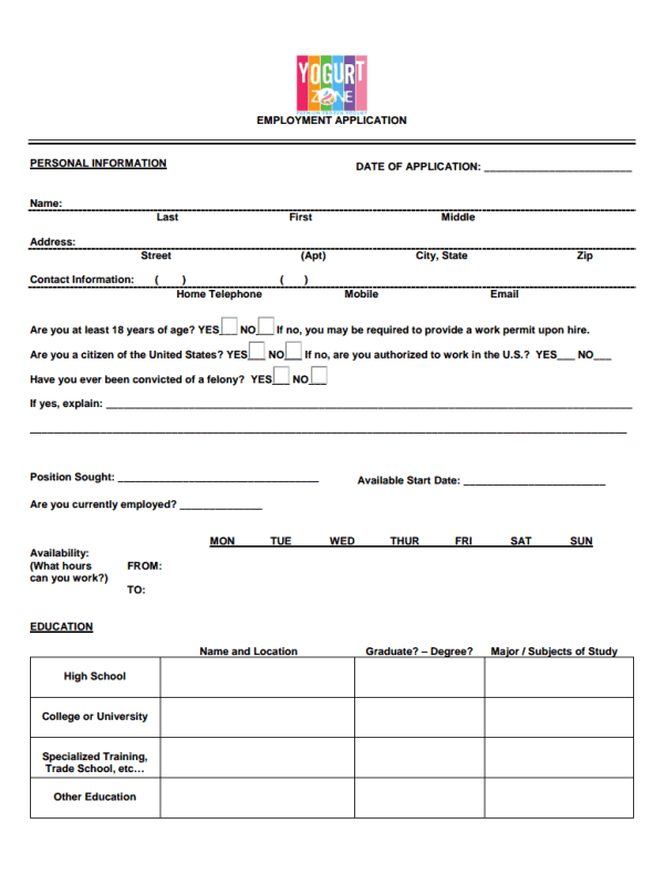 My Yogurt Zone Job Application Form