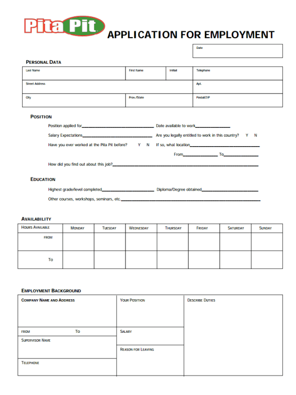 Pita Pit Job Application form