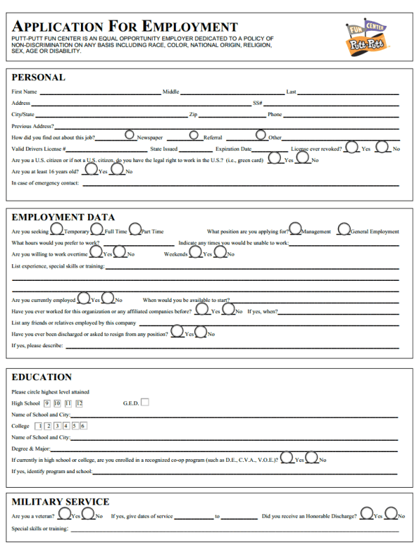 Putt Putt Job Application Form