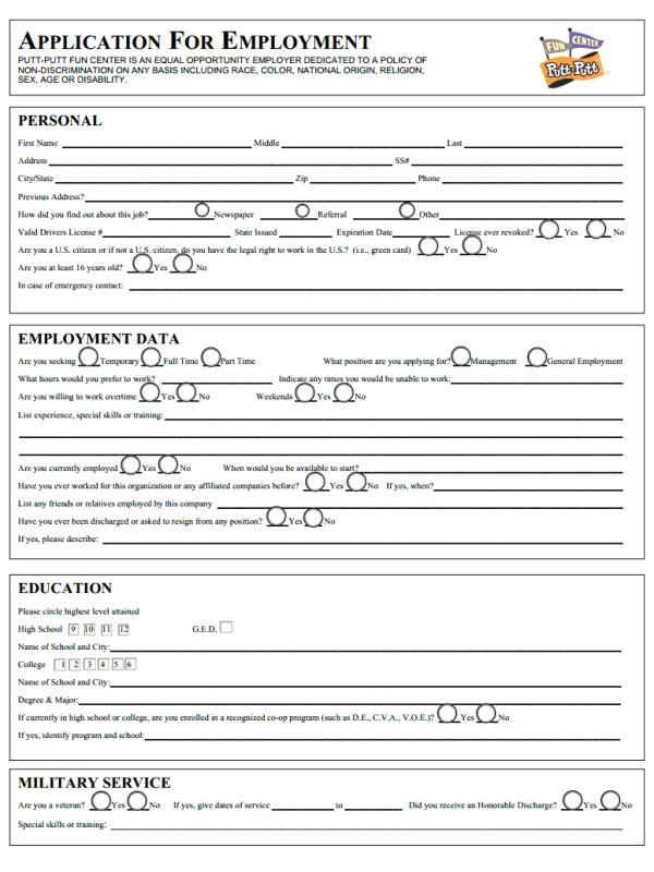 Putt Putt Job Application Form