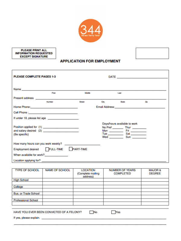 Shop 344 Job Application Form