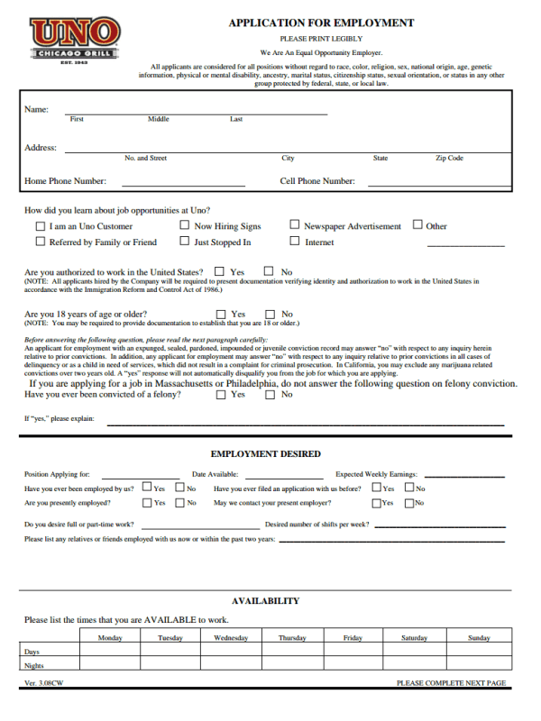 Unos Job Application Form