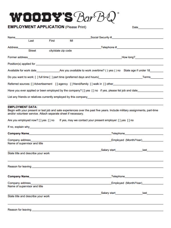 Woody's Job Application Form