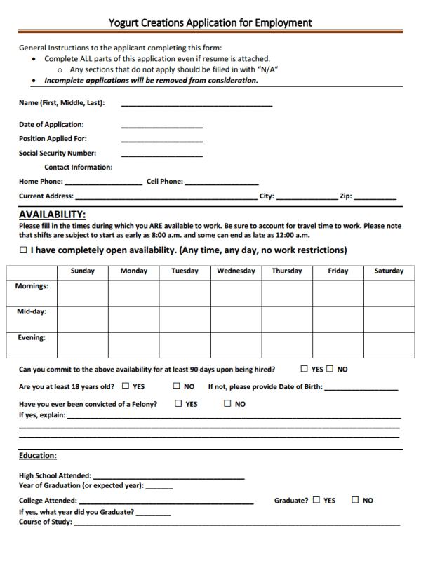 Yogurt Creations Job Application Form