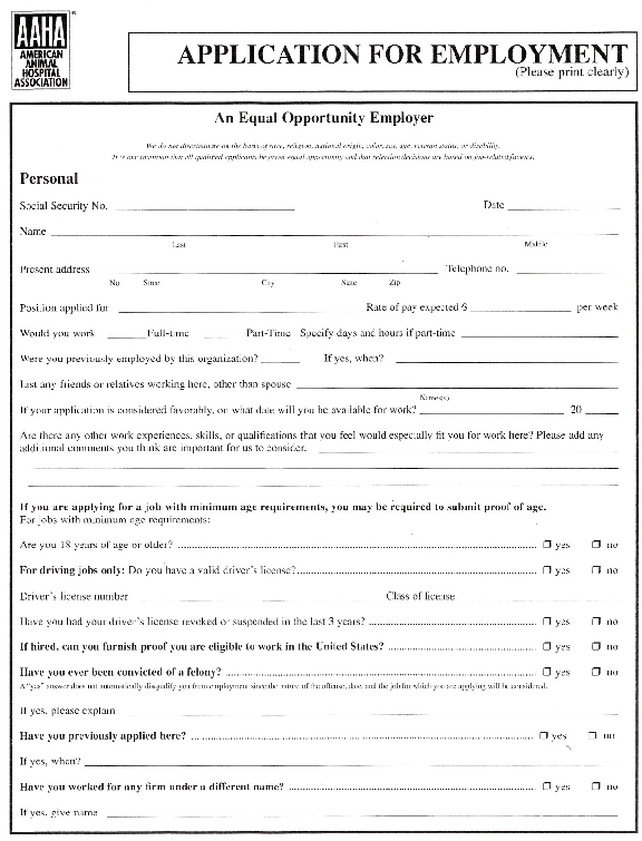 AAHA job application form