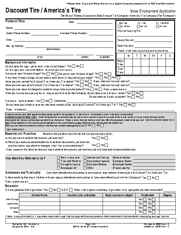 America's Tire Company Job Application Form