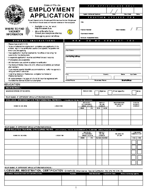 Florida State Job Application Form