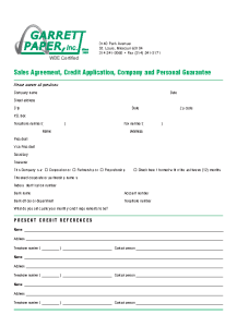 Garrett Paper Job Application Form