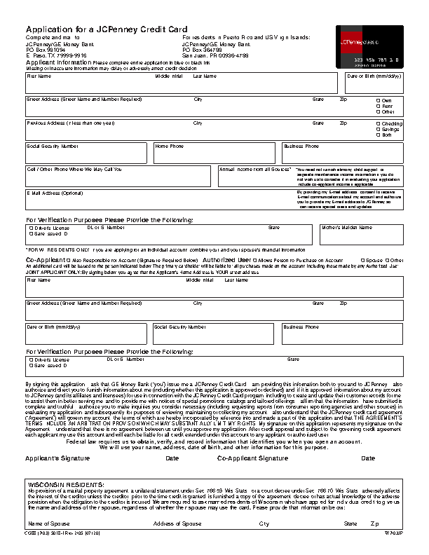 JCPenney-Credit-Card-Application-Form Jcpenney Application Form Pdf on sample college, massachusetts rental, construction job, supplemental security income, walmart job, free printable generic job, travel visa, ford credit, free residential rental,
