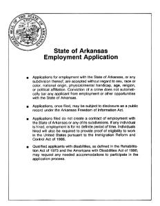 State Of Arkansas Job Application Form