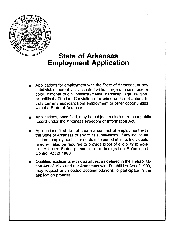 State Of Arkansas Job Application Form