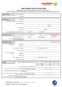 Countdown Job Application Form