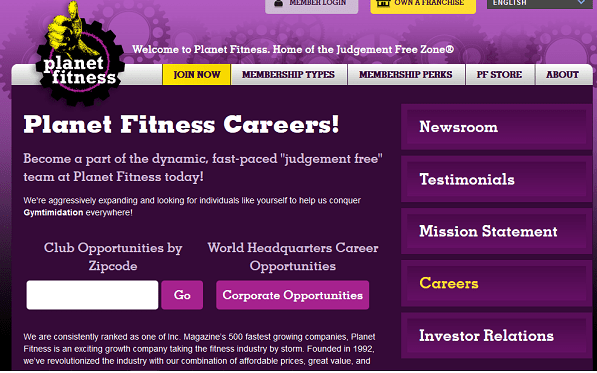 Planet Fitness job application form