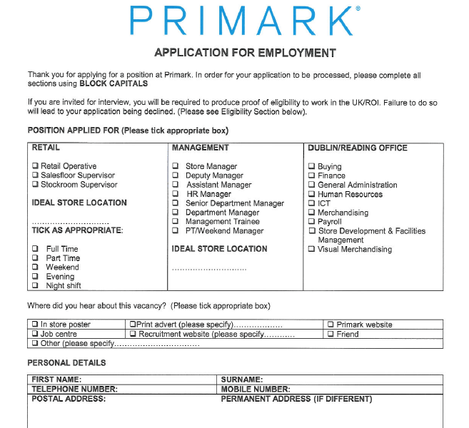 Need Primark Job Application Form? Read This!