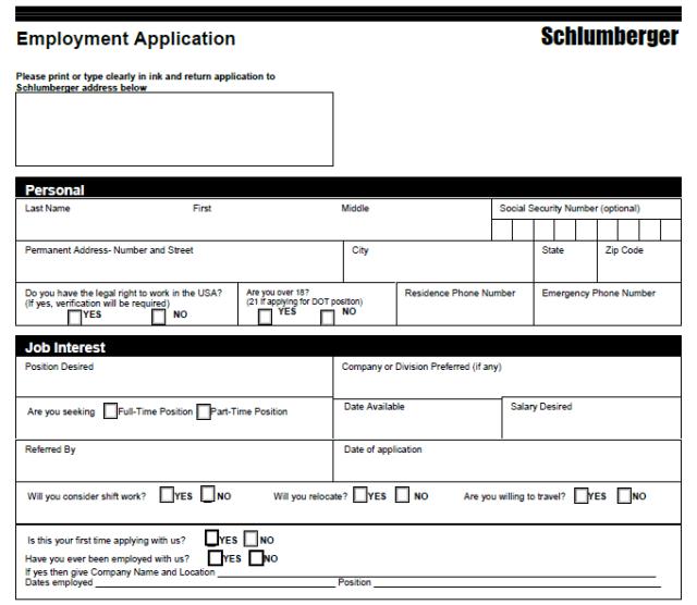 Schlumberger Job Application Form