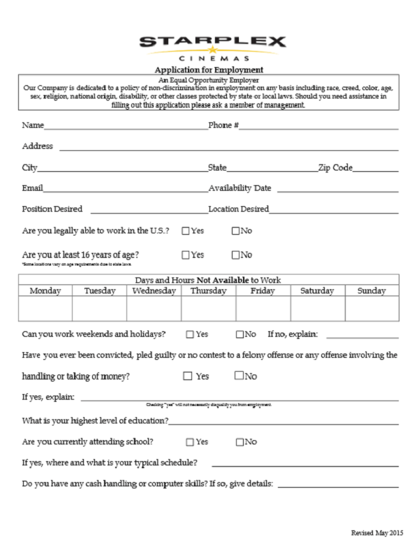 Starplex Cinemas Job Application Form
