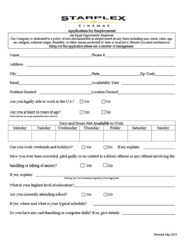 Starplex Cinemas Job Application Form