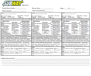 Subway Order Form Fax