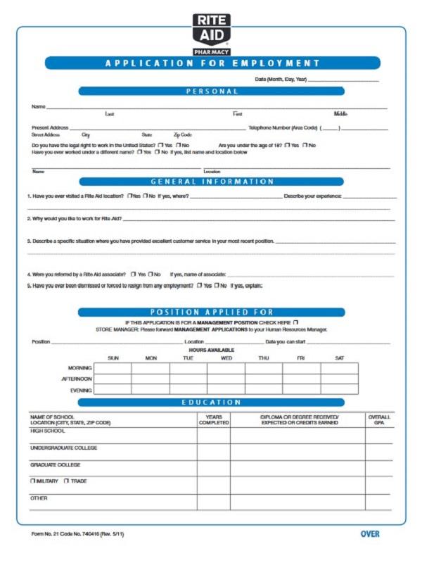 Rite Aid Job Application Form