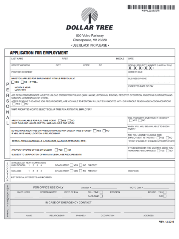 dollar tree job application form
