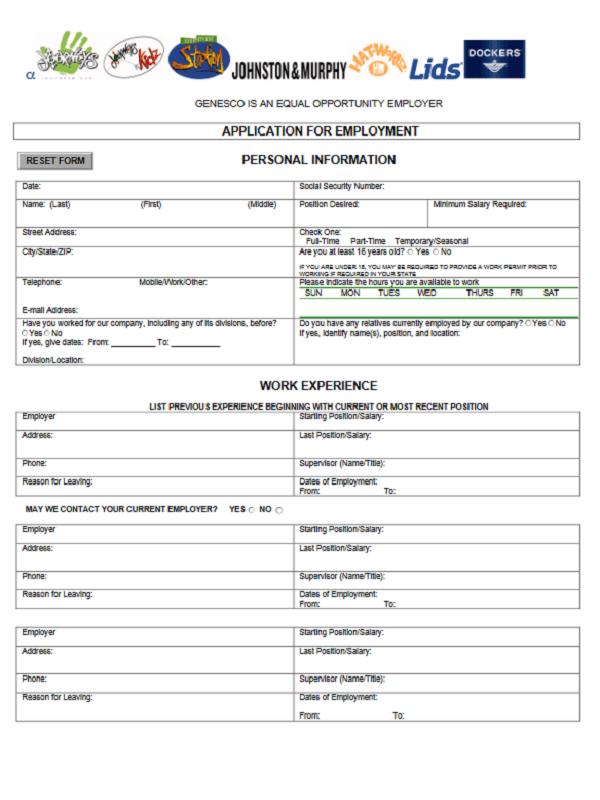 journeys job application form