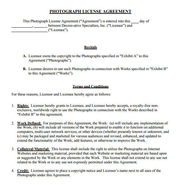 License of photography rights