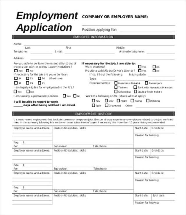 Free Employment Application Form