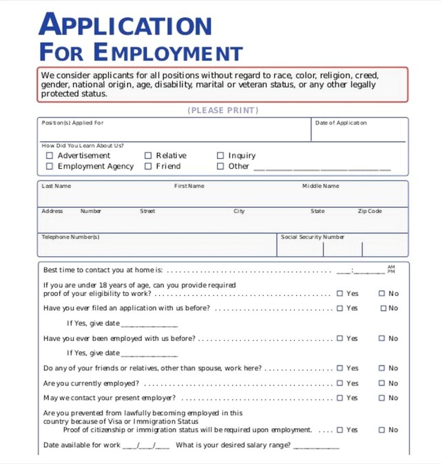 Employment Application Pdf Sample