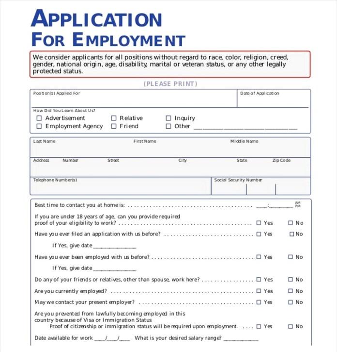Employment Application Pdf Sample