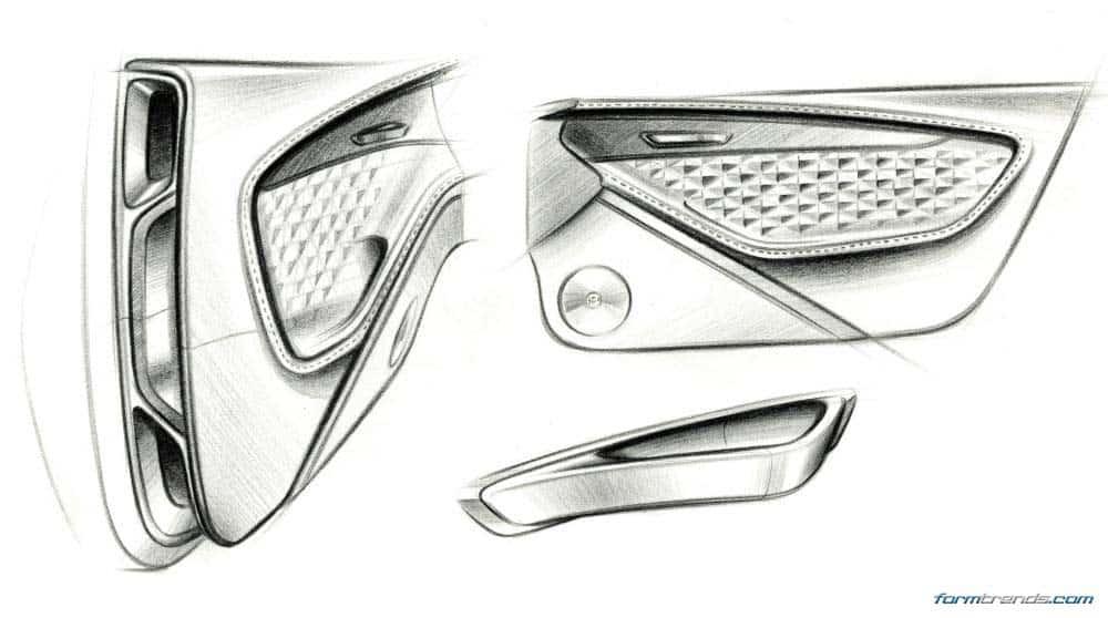 Car Interior Sketch Top View. car interior line drawing