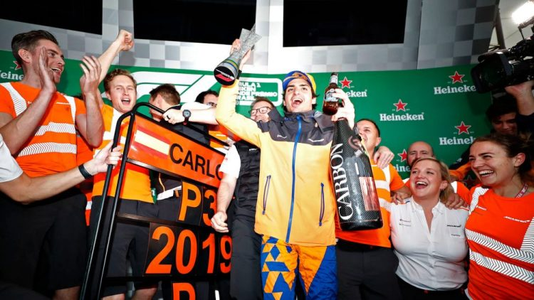 Brazilian Grand Prix 2019: The wait is over! Sainz celebrates his first  podium - and McLaren's first in 2072 days | Formula 1®