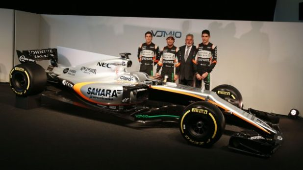 (L to R): Alfonso Celis Jr (MEX) Sahara Force India F1 Development Driver; Sergio Perez (MEX) Sahara Force India F1; Dr. Vijay Mallya (IND) Sahara Force India F1 Team Owner; Esteban Ocon (FRA) Sahara Force India F1 Team,with the Sahara Force India F1 VJM10. Sahara Force India F1 VJM10 Launch, Wednesday 22nd February 2017. Silverstone, England. © Sahara Force India