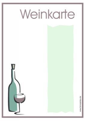 Weinkarte Blanko  Vorlage Muster zum Ausdrucken