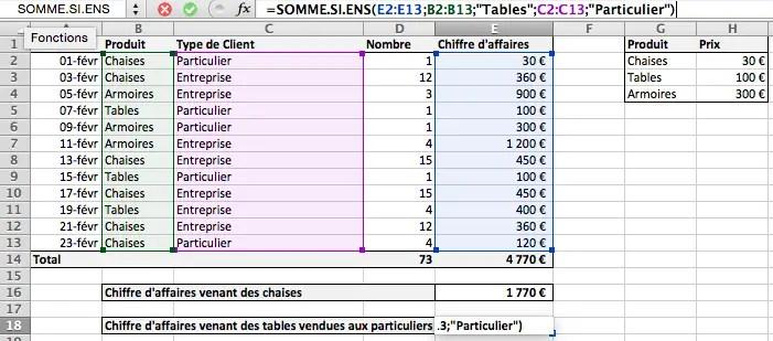 Faire une somme avec plusieurs conditions sur Excel avec SOMME.SI.ENS