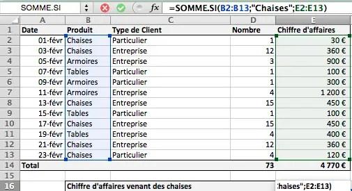 Utilisation de SOMME.SI pour faire une somme conditionnelle sur Excel