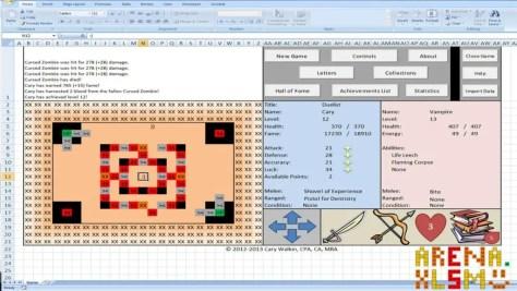 Jouer à Arena sur Excel